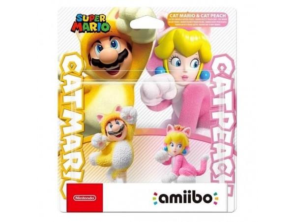Amiibo Super Mario Cat Mario & Cat Peach Figür Seti