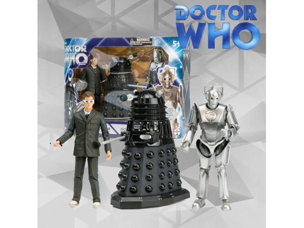 DOCTOR WHO 10TH DOCTOR , CYBERMAN AND DALEK DOOMSDAY SET- UNDERGROUND TOYS