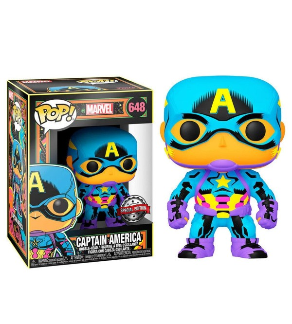 FUNKO POP MARVEL BLACK LIGHT CAPTAIN AMERICA SPECIAL EDITION