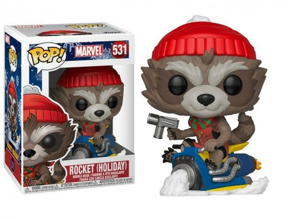 FUNKO POP MARVEL ROCKET HOLIDAY FIGURU