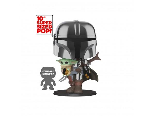 Funko Pop Star Wars - Chrome Mandalorian With The Yoda 10 Inc Büyük Boy 25 Cm