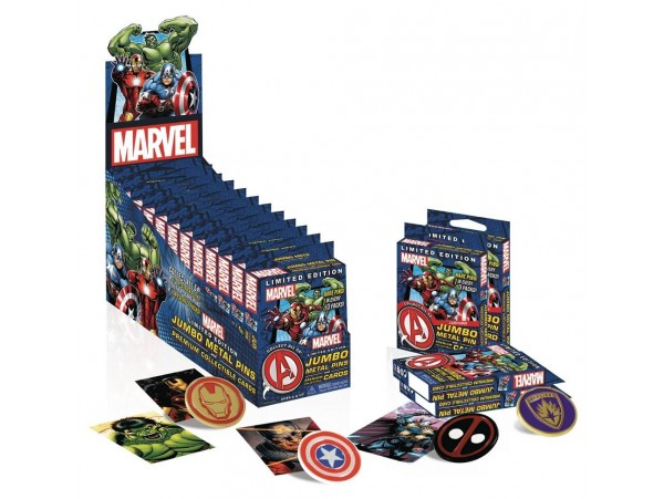 MARVEL UNIVERSE JUMBO PIN AND COLLECTIBLE CARD VE ROZET