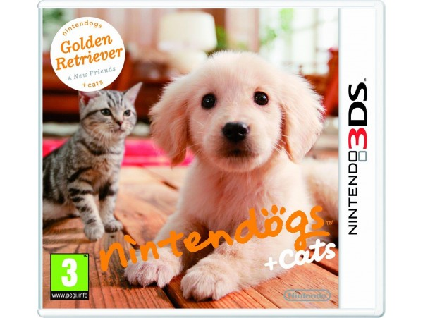 NINTENDO 3DS NINTENDOGS GOLDEN RETRIEVER + CATS