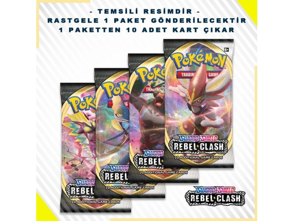 POKEMON TCG: SWORD & SHIELD REBEL CLASH BOOSTER PACK KART SETI 10'LU (ORJINAL URUN)